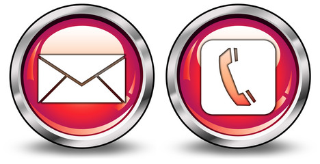 """Glossy 3D Style Buttons """"E-Mail/Phone"""""""
