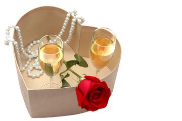 Champagne perlas y rosas
