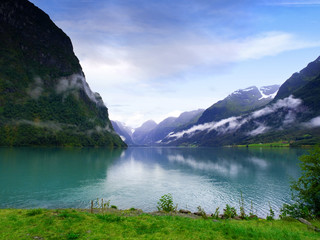 Scenic image of a typical norwegian fjord near Geirangerfjord.