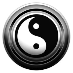 """Sign/Button """"Yin & Yang"""" b/w on white background"""