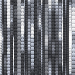 strips of shiny black and white circles