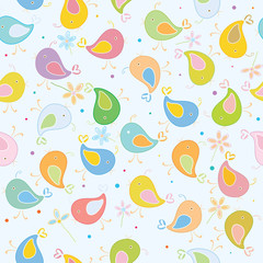 Seamless pattern of cute birds.