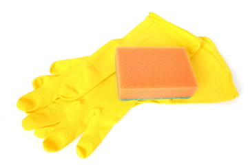 yellow rubber gloves and kitchen sponge on white background
