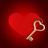 Heart keychain with gold key