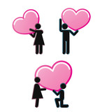 Pictograms which represent young couple in love poster