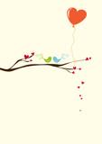 greeting card - birds with heart ballon