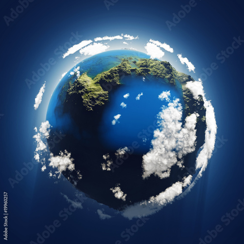 canvas print picture small blue planet, aerial view