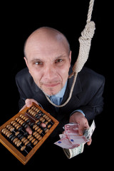 businessman in a time of economic crisis