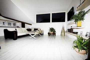 Modern house living room  modern furniture sofa and little table