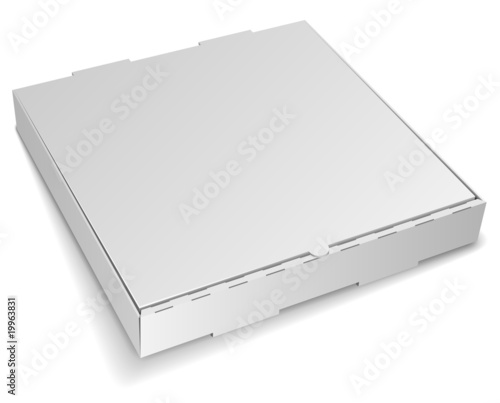Blank closed cardboard pizza box isolated on white - 19963831