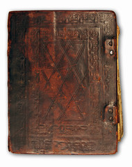 leather cover of antique book