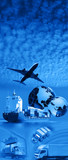 Airplane over Blue sky