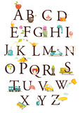 Fototapety Cute cartoon alphabet vector illustration