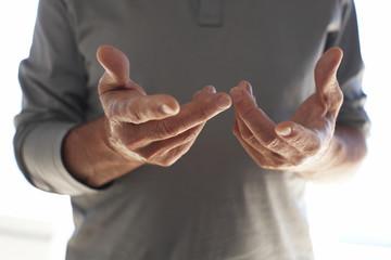 Mature man's hands