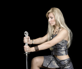 Beautiful girl with sword