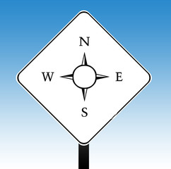 Compass road sign