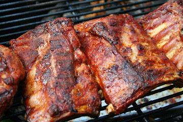 Barbecue pork ribs on a grill