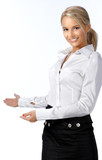 Businesswoman with her arm out in a welcoming gesture, isolated