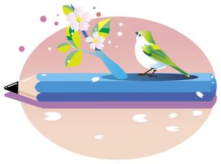 桜 花咲く鳥 pencile bird