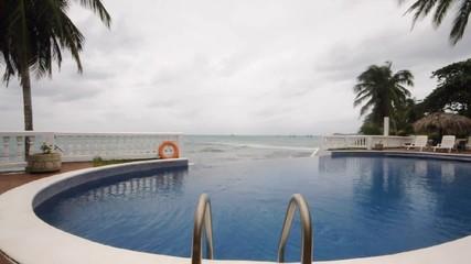 infinity swimming pool over caribbean sea   nicaragua