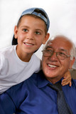 Smiling and happiness grandfather with grandson poster