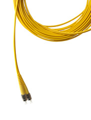 Optical single mode FC patch cord isolated on white background.