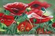 Quadro Mohnblumenwiese, Graffiti auf Ziegelwand