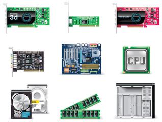 Vector white computer icon set. Part 4. Computer parts