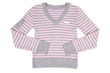Pink-grey sweater on a white.