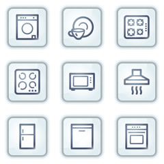 Home appliances web icons, white square buttons series