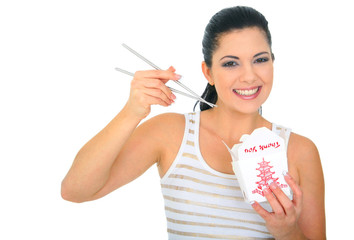 Happy Young Woman Eating Chinese Food
