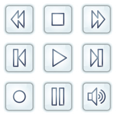 Walkman web icons, white square buttons series