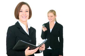 Smiling Businesswoman Holding Agenda