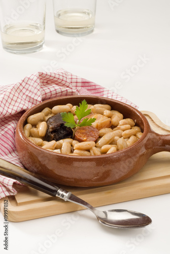 Spanish Cuisine. Asturian ham and beans.