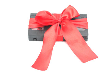 Videocassette tied with a ribbon