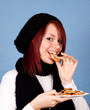 cute girl eating cookies