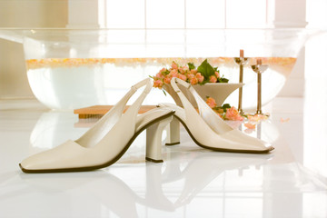 Schuhe,Damenschuhe auf weiss mit Rosen