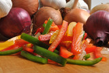 prepare red and greed mediterranean paprika salad poster