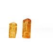 Two orange Imperial Topaz crystals, birthstone for November
