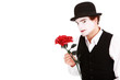 mime holding a rose , Valentine's day concept