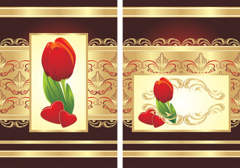Tulip, hearts and gothic ornament. Two wrappings. Vector