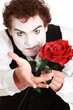 mime holding red rose , Valentine's day concept