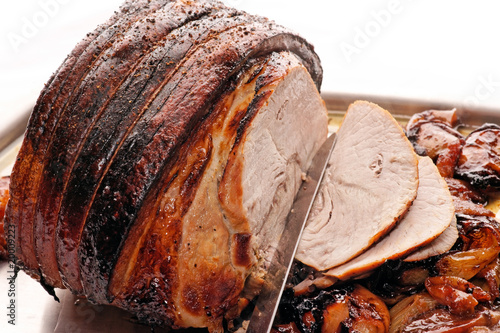 Roast Pork with roasted apples and onion