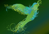 Abstract swirling humming bird illustration
