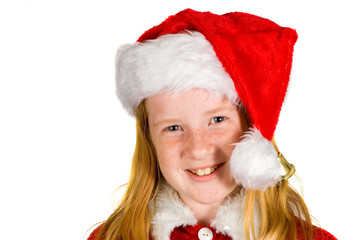 Portrait of little girl in santa's hat