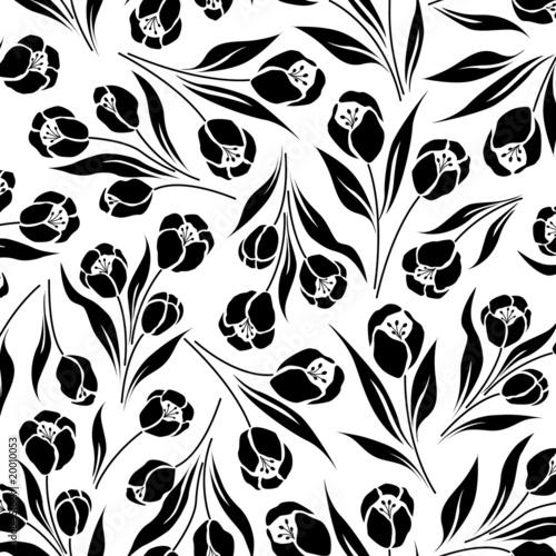 tulip flower, seamless vector half drop repeat