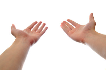 Two hands reaching and holding