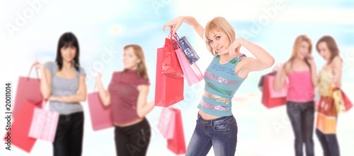 Shopping sexy girls smiling