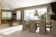 Residential house interior. 3D render.