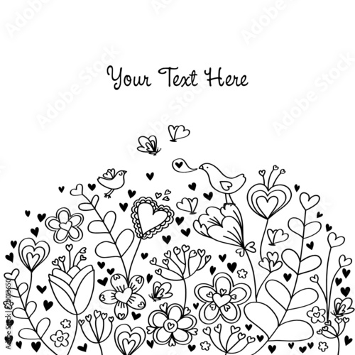 Heart Floral Background BW